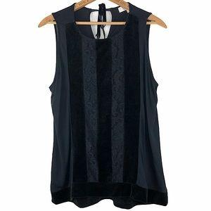 LOFT Black Velvet Lace Striped Sleeveless Top